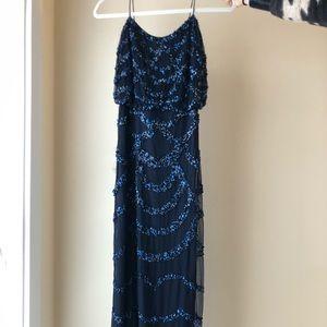 Aidan Mattox blue sequined evening gown